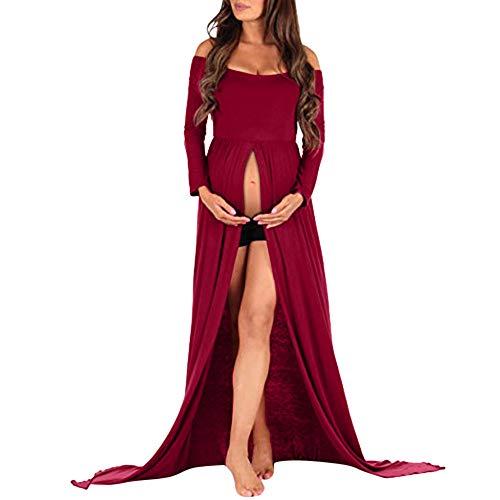 Vestido de Mujer de Allence, para Embarazadas, para Foto, para fotografía, Vestido Sexy, Elegante, para el Cuidado de la Maternidad Rojo M