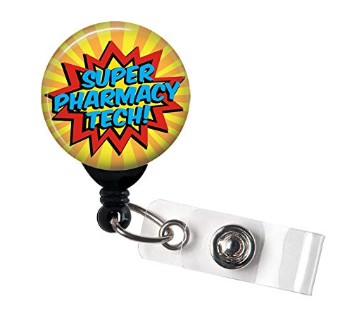 Super Pharmacy Tech - Retractable Badge Reel with Swivel Clip and Extra-Long 34 inch Cord - Badge Holder/Pharmacy Badge/Pharmacist/Pharmacy Tech/Pharmacy Technician
