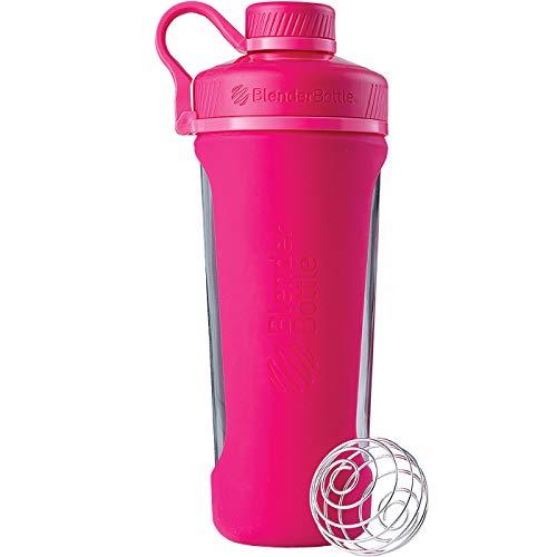 BlenderBottle Radian Glas Wasserflasche mit BlenderBall, geeignet als Protein Shaker, Diät Shaker, Fitness Shaker oder Eiweißshaker mit Silikonhülle, pink, 820 ml