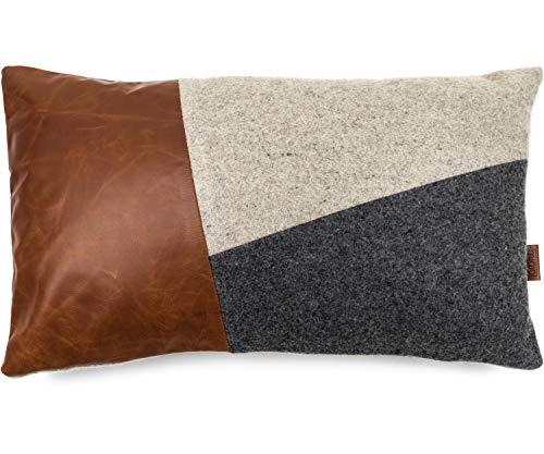 Miqio® Design Kissenbezug aus Filz mit Echtleder (Kissenhülle 'Bergen') 30x50 cm