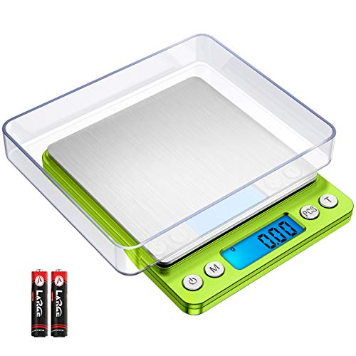KeeKit Digital Pocket Scale, 500g 0.01g Mini Kitchen Scale with 2 Trays, High Accuracy Multifunction Food Scale with 6 Units, Backlit LCD Display, PCS, Tare & Auto No/Off (Batteries Included) – Green