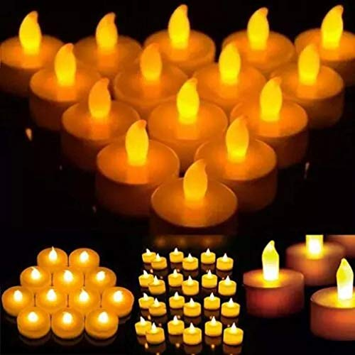 New Flameless LED Tea Light Candles Flickering Lights Bulb Decoration Home Party Festival Wedding Anniversary Party - Battery-Powered Tealight Candle Warm Yellow Lamp (12PCS)
