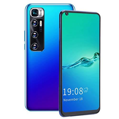 Teléfono con pantalla de 6.82 pulgadas, reconocimiento facial de 5Mp + cámara de 2Mp, resolución de 540X1200, teléfono inteligente con doble modo de espera, para regalo de(blue)