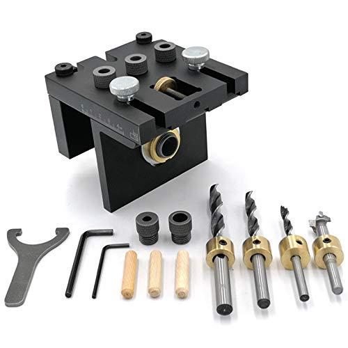 Nrpfell Kit de Plantilla de Pasador de Carpintería MultifuncióN Guía de PerforacióN Ajustable Localizador de Punzones para Muebles Herramientas de Carpintería de ConexióN