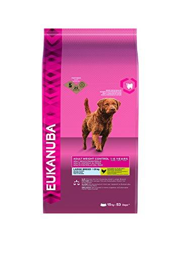 Eukanuba Weight Control für große Rassen, fettarmes Hundefutter zum Gewichtserhalt oder Diät bei Übergewicht, 15 kg