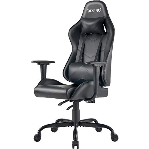DESINO Gaming Chair Racing Style Home & Office Ergonomic Swivel Rolling Computer Chair with Headrest and Adjustable Lumbar Support for Adults Kids(Black) black chair gaming