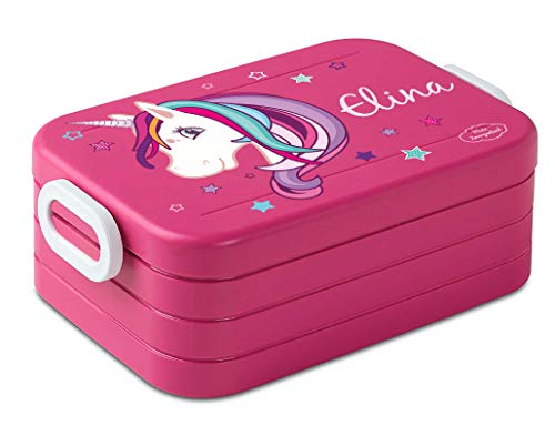 Mein Zwergenland Lunchbox Mepal Maxi Take A Break midi Brotdose mit eigenem Namen Pink, Einhorn Beauty