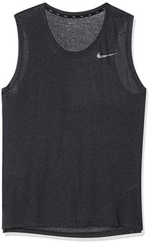 Nike Herren Breathe Training Tanktop, Black Heather/Metallic Hematite, M