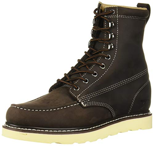 Golden Fox Work Boots 8' Men's Moc Toe Wedge Comfortable Leather Boot for Work and Construction (9 D(M) US, Dark Brown)