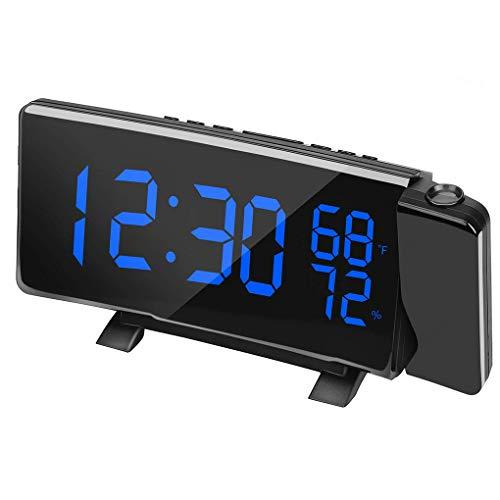 lmoikesz Rotación de 180 Grados Proyección Reloj Digital de Despertador Reloj de Alarma Temperatura Humedad LED SN Pantalla Digital Reloj