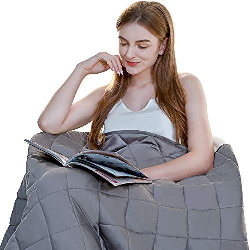 ZZZNEST Gewichtete Bambusfaser-Therapiedecke 100% Baumwolle, Schwere Decke für Angst- und Schlafstörungen,Grau,155x220 cm 8kg