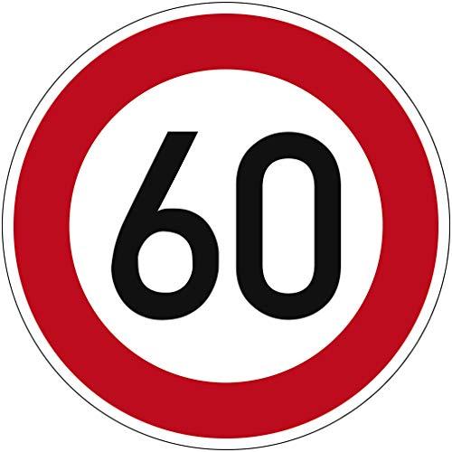 Verkehrszeichen Zulässige Höchstgeschwindigkeit 60 Nr. 274-60 | Ø 420mm, Alu 2mm, RA1 | Original Verkehrsschild nach StVO mit RAL Gütezeichen | Dreifke®