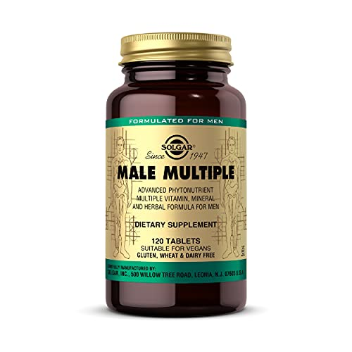 Solgar Male Multiple, 120 Tablets - Multivitamin, Mineral & Herbal Formula for Men - Advanced Phytonutrient - Vegan, Gluten Free, Dairy Free - 40 Servings