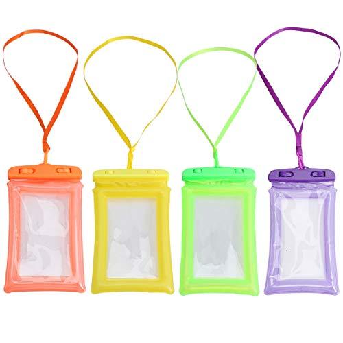 IMIKEYA 4 Piezas Funda Impermeable Universal Bolsa de Teléfono Móvil Bolsa Seca Natación Buceo Pantalla Táctil Bolsa de Protección de Teléfono para Deporte Verde Púrpura Naranja Amarillo