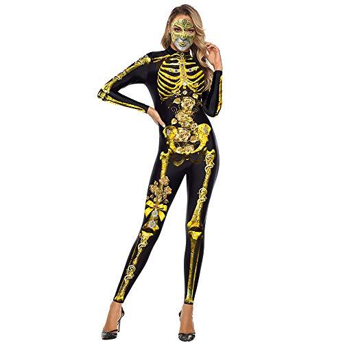 EraSpooky Disfraz de Esqueleto para Mujer Disfraces de Segunda Piel Onesie Traje Divertido de Fiesta de Halloween para Adultos