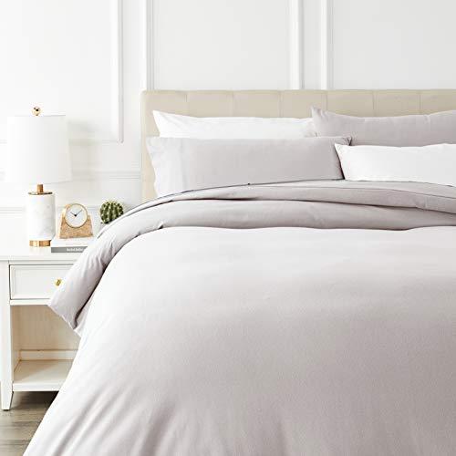 Amazon Basics - Juego de cama de franela con funda nórdica - 230 x 220 cm/50 x 80 cm x 2, Blanco