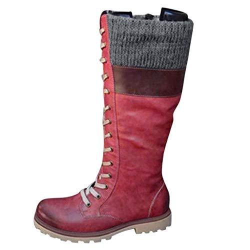 UFODB Stiefeletten Damen Elegant Socken Stiefel Warme Schuhe Leder Booties Flache Langschaftstiefel Stricken Patchwork Stiefelette Warm Gefüttert Outdoor Boots