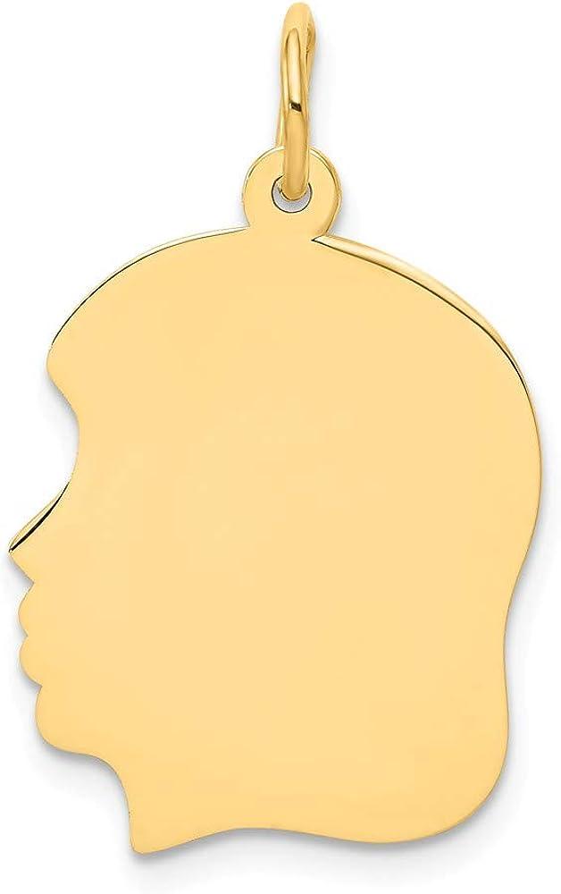 Solid 14k Yellow Gold Plain Medium .013 Gauge Facing Left Engravable Girl Head Charm Pendant - 27mm x 17mm