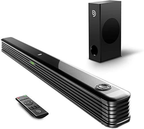 Soundbar 2.1 con Subwoofer Wireless, Soundbar TV 2.1 Perfetto per Home Office, 150W, 130dB Soundbar, DSP e 3D Surround Sound, Bluetooth 5.0, Ingresso Ottico, USB, RCA, AUX