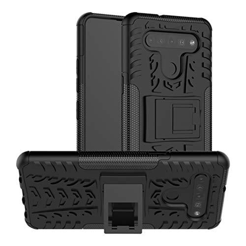 HAOTIAN Handyhülle für LG K41S / K51S Hülle, Rugged TPU/PC Hybrid Armor Schutzhülle. Anti-Scratch PC Rückwand Schale + Stoßfeste TPU Innenschutzabdeckung + Faltbarer Halterungen. Schwarz