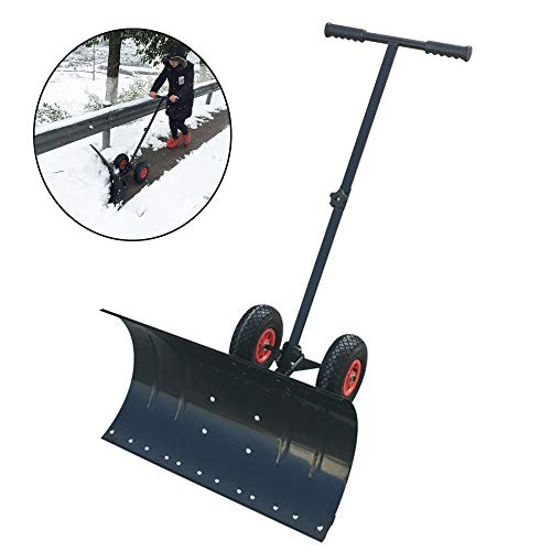 Best Review Of LANGYINH Snow Shovel with Wheels Metal Snow Pusher with Amulti-Angle Heavy Duty Large...
