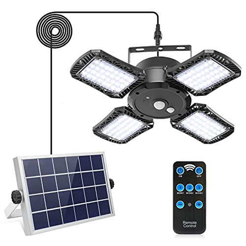 Solar Pendant Light with Remote Control,Solar Powered Shed Light with 128LED 1000LM Solar Security Motion Sensor Lights for Outdoor Indoor Home Yard Barn Gazebo Patio Porch IP65 Waterproof