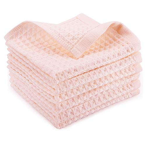 Beasea Waffle Weave Dish Cloths 13x13 Inch 6pcs Kitchen Dish Towels Cotton Kitchen Cloths Pink Ultra Soft Absorbent Dish Rags Quick Drying Wash Cloths Cleaning Cloths for Household