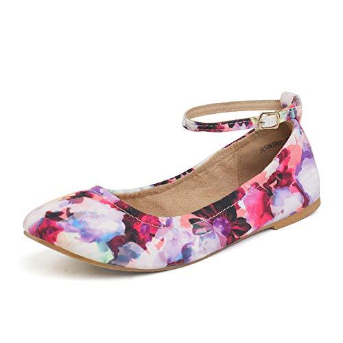 DREAM PAIRS Women's Sole-Fina-Straps Floral Ankle Straps Ballet Flats Shoes Size 11 US/ 9 UK