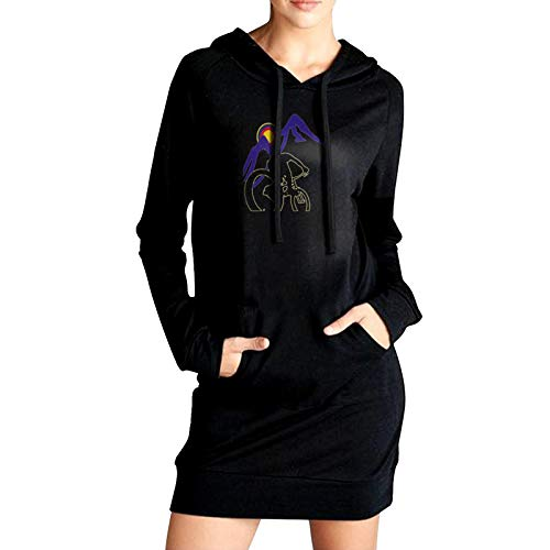 Mountain Bike Clipart Women'S Long Sweater Pullover Hoodie Black