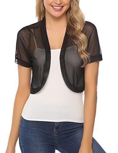 Aiboria Women Short Sleeve Sheer Chiffon Shrug Open Front Bolero Cardigan Black