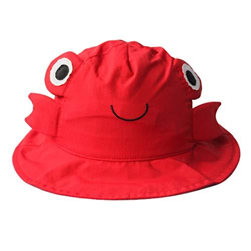 GWELL Kinder Süß Tier Sonnenhut Sommer Outdoor Strandhut Sonnenschutz Mütze Sommerhut Fischerhut Wanderhut Rot Krabbe 48cm