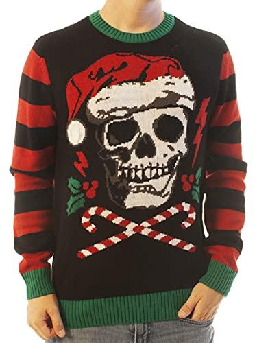 Ugly Christmas Sweater Men's Skull Santa Hat Light Up Pullover Sweatshirt-Small Black