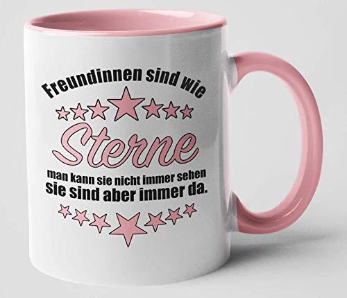 Freundinnen sind wie Sterne Tasse rosa Henkel Freundschaft Beste Freundin Geschenk