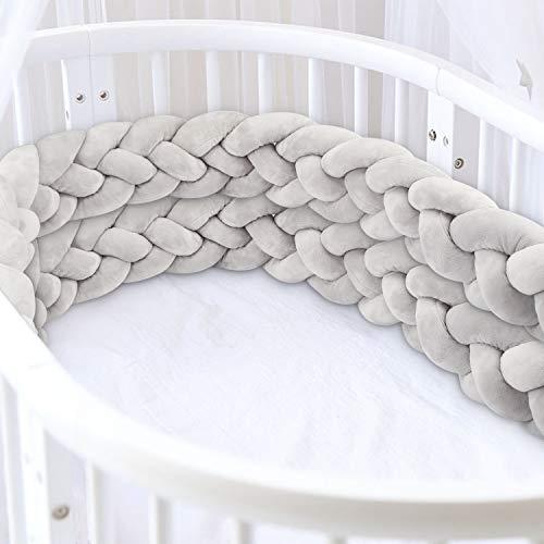 Luchild Bettumrandung Babybett Länge 2.2m Baby Nestchen Bettumrandung 4 Weben Geflochtene Stoßfänger Dekoration für Krippe Kinderbett Grau