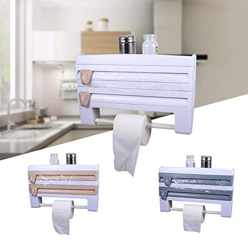 Cocina Plástico Refrigerador Película adhesiva Almacenamiento Estante de corte Cortador de envoltura Láminas de estaño Soporte de toalla de papel Estante de cocina Soporte para colgar
