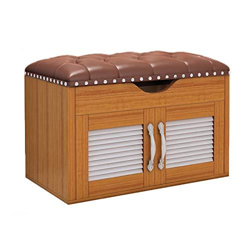 JBTM Banco De Almacenamiento 2-Niveles Zapateros Gabinete De Zapatos De Madera con Asiento con Almacenamiento Oculto Hogar para El Hogar Pasillo Entrada, Dormitorio, Sala De Estar,Wood Colour,60Ccm