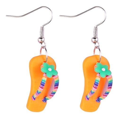 JOE COOL Drop Ohrring Flip Flop mit Blume (orange) mit Kunstharz hergestellt