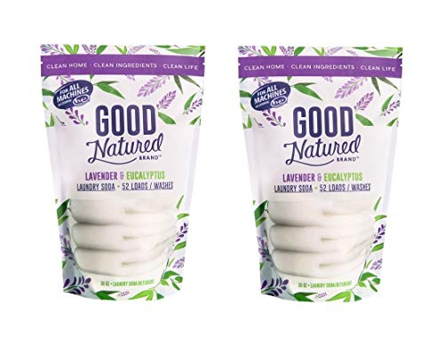 Good Natured Brand Laundry Soda, Lavender & Eucalyptus - 30oz (52 Loads) - All-Natural and Eco-Friendly Detergent, Compatible with Normal and High Efficiency Washers (2 Pack Lavender)
