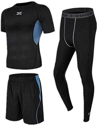 LXDDP Compression Tight Fitness Suit Leggings compresión Traje Capas básicas para Hombres 3 en 1 Set con Pantalones Cortos Manga Corta Running Sportswear Traje Hombre (Color: Negro, Talla: S)