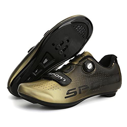 KUXUAN Zapatillas de Ciclismo para Hombre - MTB Mountain Biking Zapatillas de Bicicleta de Carretera con Cerraduras Zapatillas Deportivas para Hombres y Mujeres,E-11UK=(275mm)=45EU