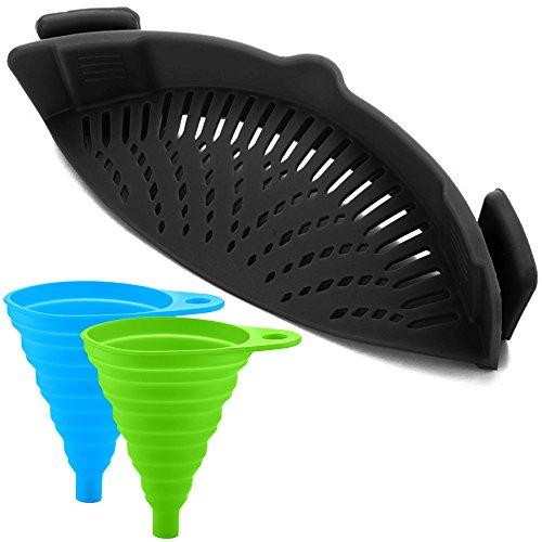 FineGood Siliconen snapzeef met 2 inklapbare trechters, handsfree clip-on hittebestendige Colander Pour-uitloop voor pasta groentenoedels, pan