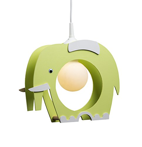 elobra lámpara infantil para techo con elefante, habitación de los Niños, madera, color verde, a + +