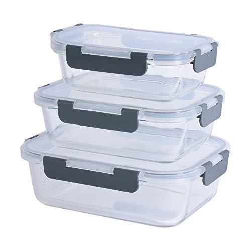 ProCook - Set 3 x Boîtes Alimentaires Emboîtables - Plats à Four en Verre avec Couvercles Hermétiques