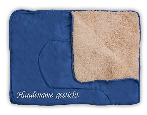 Direkt-Stick.de Hundedecke mit Namen Bestickt, personalisierbare Heimtierdecke für Hunde und Katzen, 4 Farben, weiche Wendedecke, Liegedecke Teddyfell (dunkelblau)