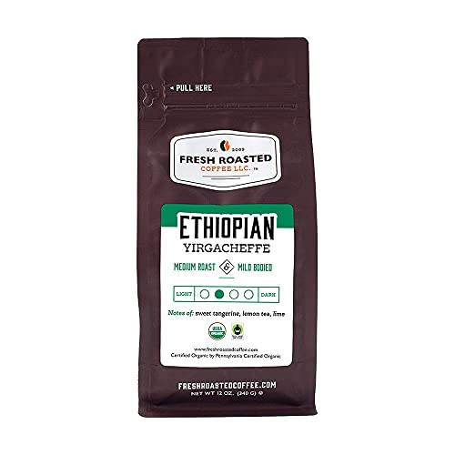 Fresh Roasted Coffee, Organic Ethiopian Yirgacheffe Medium Roast, Fair Trade Kosher, Whole Bean, 12...