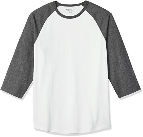 Amazon Essentials Men's Regular-Fit 3/4 Sleeve Baseball T-Shirt, Charcoal Heather/White, Large