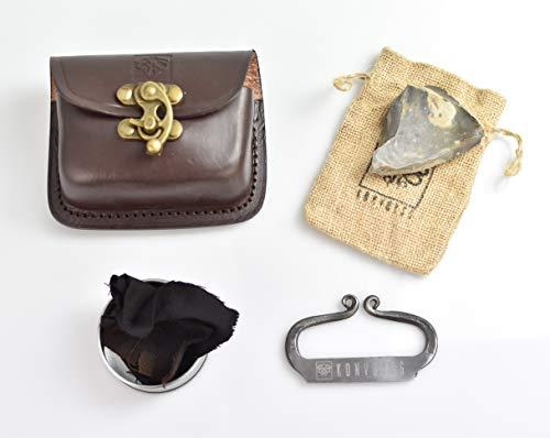 KonvoySG Carbon Steel Fire Striker, English Flint Stone & Char Cloth Traditional Hand Forged Fire Starter, Leather Gift Kit with Emergency Tinder Jute Bag (Premium Cognac Kit)