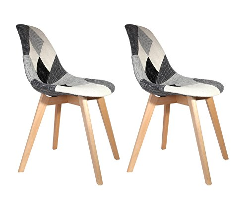 AC-Déco The Home Deco Factory Chaise scandinave Patchwork Gris