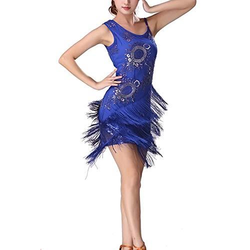 Vestidos De Lentejuelas para Mujer con Clásico Borlas Y Cuentas Vestidos De Graduación Cortos Y Delgados A La Moda Minivestido Elegante De Baile Latino A La Moda (Color : Royalblue, One Size : M)