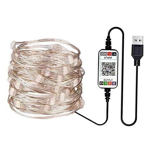 Baoblaze Smart 2/5/15M USB RGB Cambio de Cadena de luz Bluetooth App Control Garland Navidad Dormitorio Fiesta Boda Luces al Aire Libre - 2 Metros 20LED